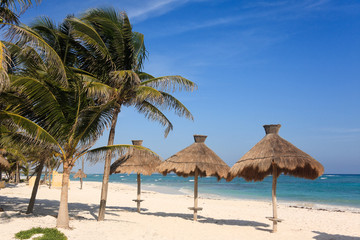 Tropical beach in the Riviera Maya