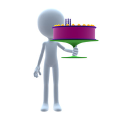 3D Guy Wtih A Birthday Cake