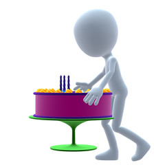 3D Guy Wtih A Birthday Cake