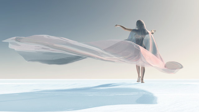 Four Seasons, woman at winter