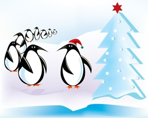 Flock of Penguins at Christmas