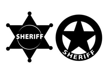 Black vector  Sheriff star on white background