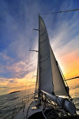 Sunset in a sailboat