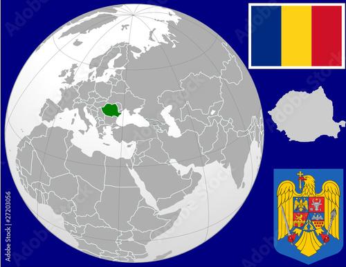 u0026quot romania globe map locator world flag coat u0026quot  stock image and royalty