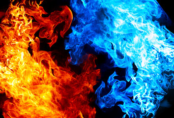 Red and blue fire on balck background