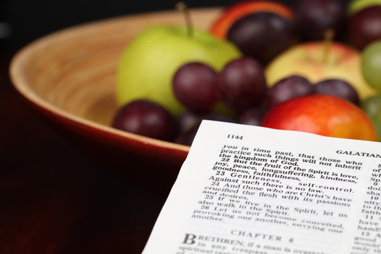 Holy Bible open to Galatians 5:22 - Fruit of the Spirit