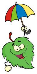Green Leaf With Umbrella