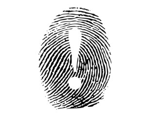 Fingerprint with exclamation sign vector