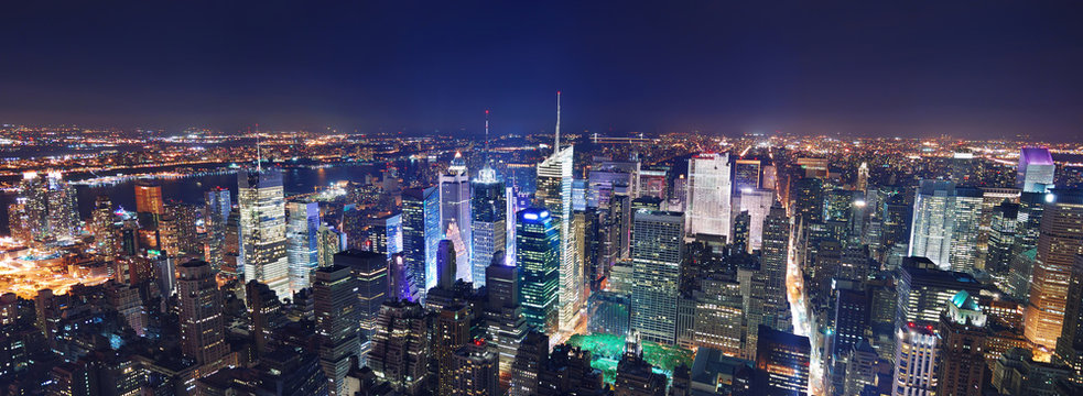 New York City Manhattan night panorama