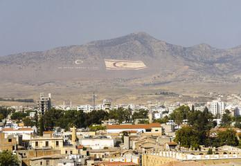 Northern Nicosia huge flags