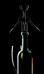 wine still life over deep black background