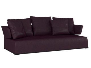 Modern violet sofa isolated on white background