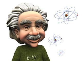 Smiling cartoon Einstein with atoms.