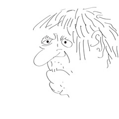 Man's face caricature. Vector illustration