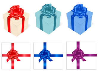 Colored gift boxes and ribbon . Photo-realistic vector.