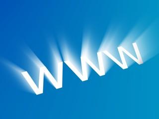 Shining symbol of www-address on blue background