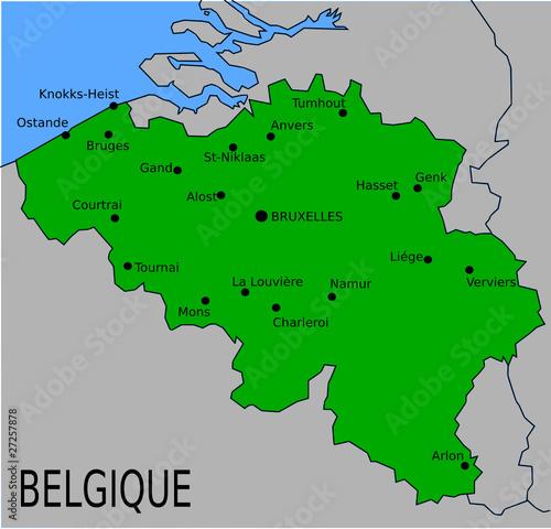 Carte Belgique Villes.Carte Des Villes Principales De Belgique Fichier Vectoriel