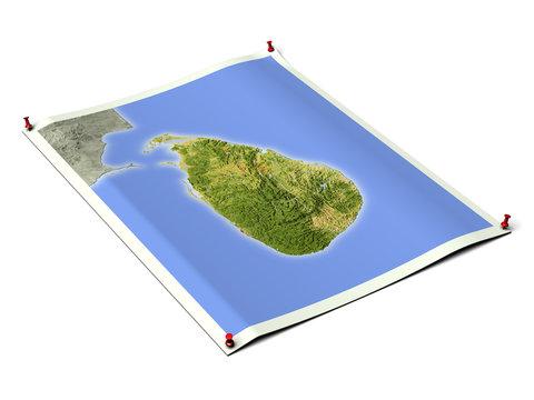 Sri Lanka on unfolded map sheet.