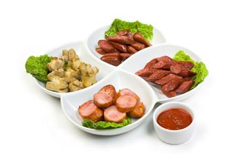 Bavarian sausages with ketchup