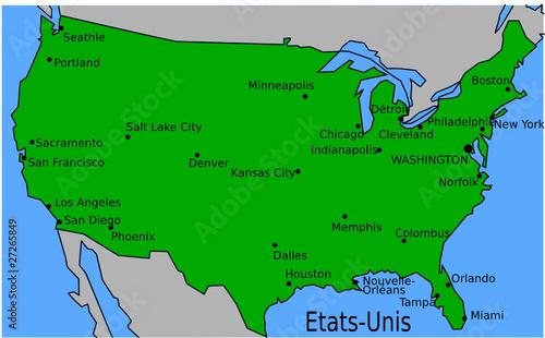 Carte Usa Grandes Villes.Carte Des Villes Principales Des Etats Unis Stock Image And