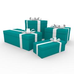 3d geschenk box blau türkis weiß