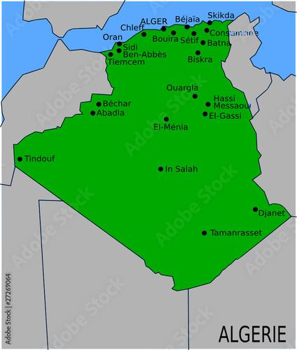Carte Algeriecom.Carte Des Villes Principales D Algerie Fichier Vectoriel