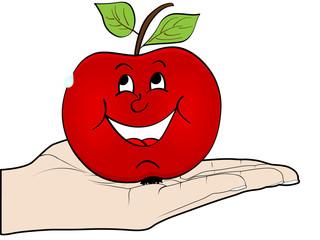 human hand offer an apple