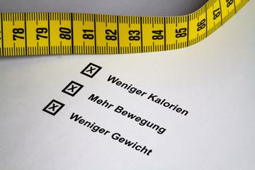Kalorien, Bewegung, Gewicht mit Massband II