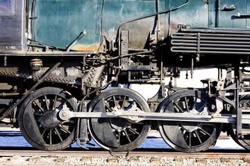 detail of steam locomotive, Alamosa, Colorado, USA