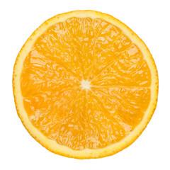slice of orange on white background