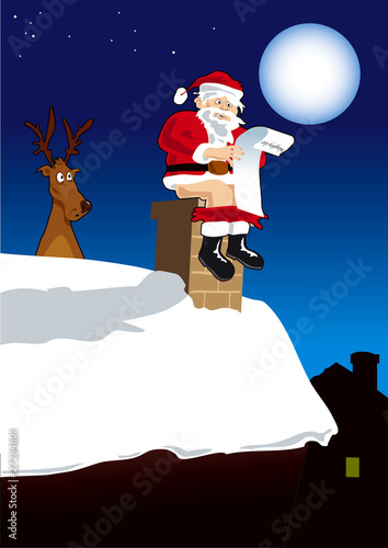 Quot Santa Doing Poo Down Chimney Of Naughty Child Quot Stock