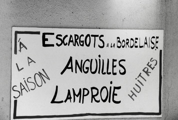 Pancarte de vente d'escargots