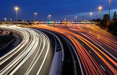 Keuken foto achterwand Nacht snelweg barrières de péage autoroutier de nuit