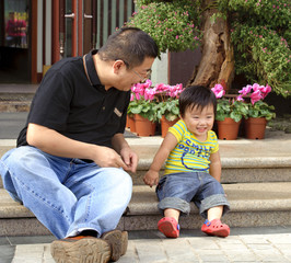 love and cherish : playing baby with his father