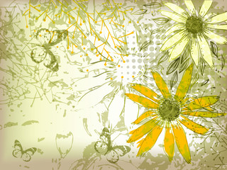vector background with shining yellow sunflowers