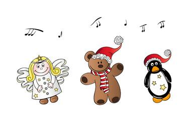 Nikolaus, Weihnachten, Teddy, Engel, Pinguin