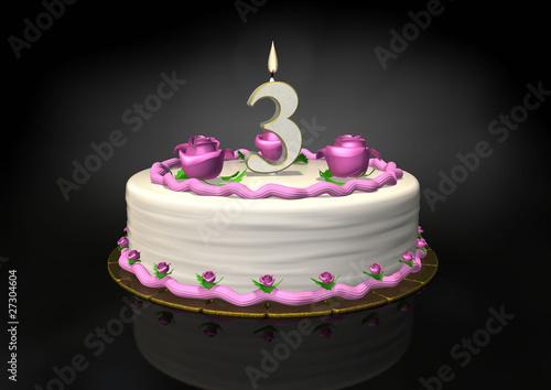 Birthday Cake 3 Year Candle
