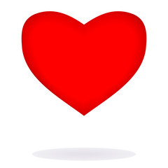 Sweet red heart over white background
