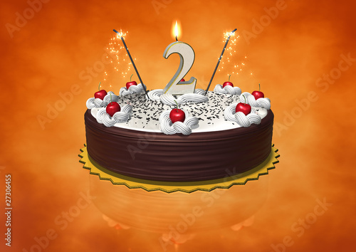 One Year Birthday Cake With Candle And Sparkles Stock Photo Royalty Free Images On Fotolia
