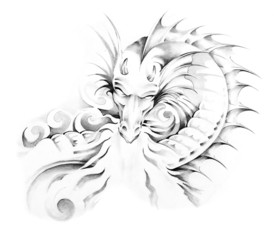 Wall Mural - Sketch of tattoo art, dragon