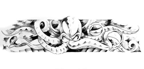 Sketch of tatto art, octopus