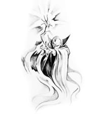 Fototapete - Sketch of tatto art, warlock