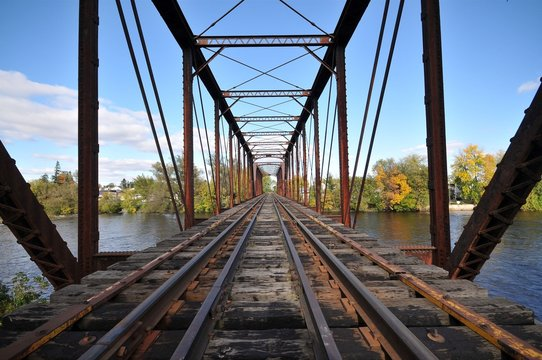 Rail length across the river  on steel bridge