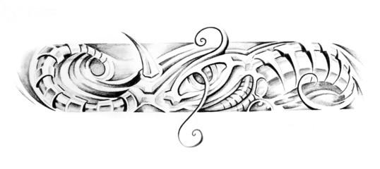 Wall Mural - Sketch of tattoo art, fantasy bracelet