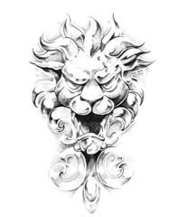 Fototapete - Sketch of tattoo art, gargoyle