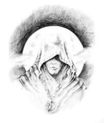 Fototapete - Sketch of tattoo art, magician