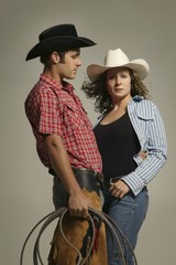 Couple Wearing Western Clothing