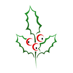 christmas holly vector illustration icon and logo