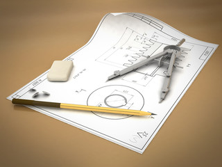 Band, pencil and compasses