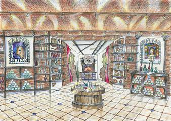 Sketch of interior of wine shop